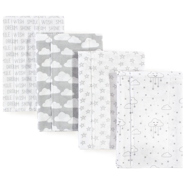 Hudson Baby Cotton Flannel Burp Cloths, Gray Clouds