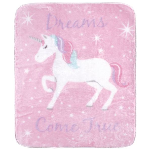 Hudson Baby High Pile Plush Blanket, Magical Unicorn
