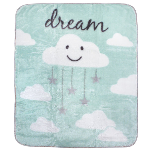 Hudson Baby High Pile Plush Blanket, Mint Cloud