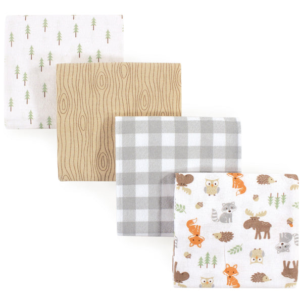 Hudson Baby Cotton Flannel Receiving Blankets, Woodland