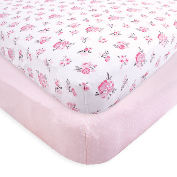 Hudson Baby Cotton Fitted Crib Sheet, Pink Floral