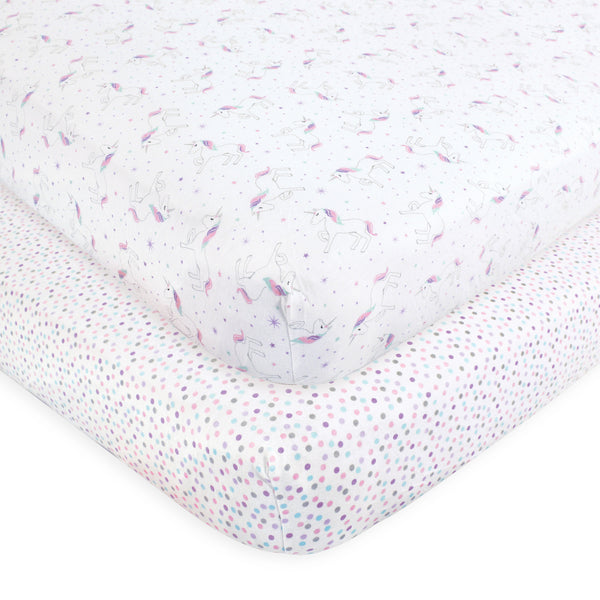 Hudson Baby Cotton Fitted Crib Sheet, Magical Unicorn