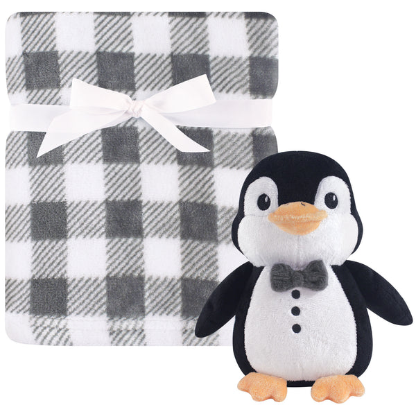 Hudson Baby Plush Blanket with Toy, Mr. Penguin
