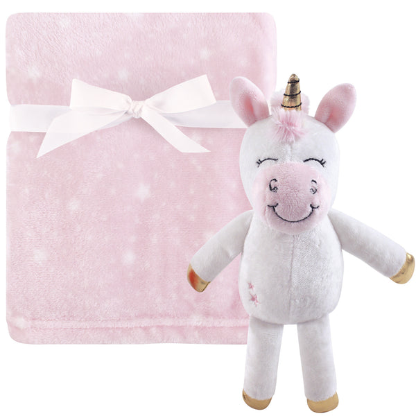 Hudson Baby Plush Blanket with Toy, Pink Unicorn Toy