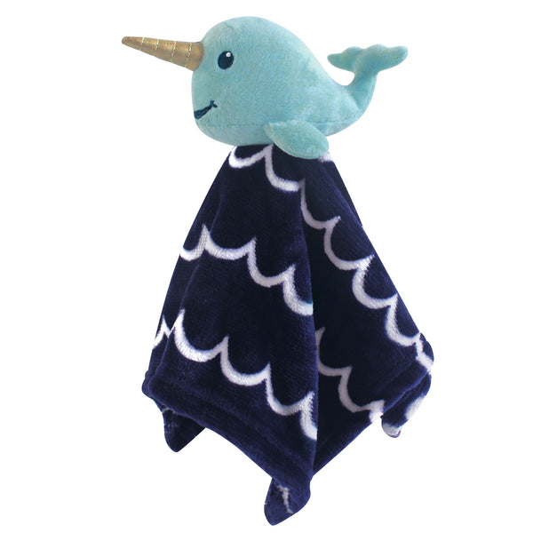 Hudson Baby Animal Face Security Blanket, Boy Narwhal
