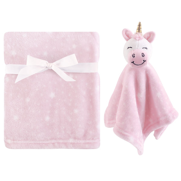 Hudson Baby Plush Blanket with Security Blanket, Pink Unicorn