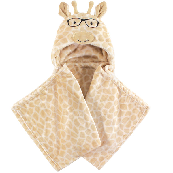 Hudson Baby Hooded Animal Face Plush Blanket, Nerdy Giraffe