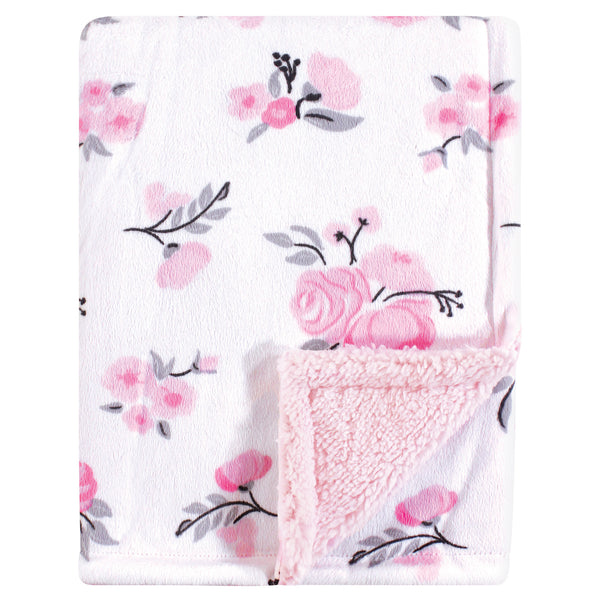Hudson Baby Plush Blanket with Sherpa Back, Pink Floral