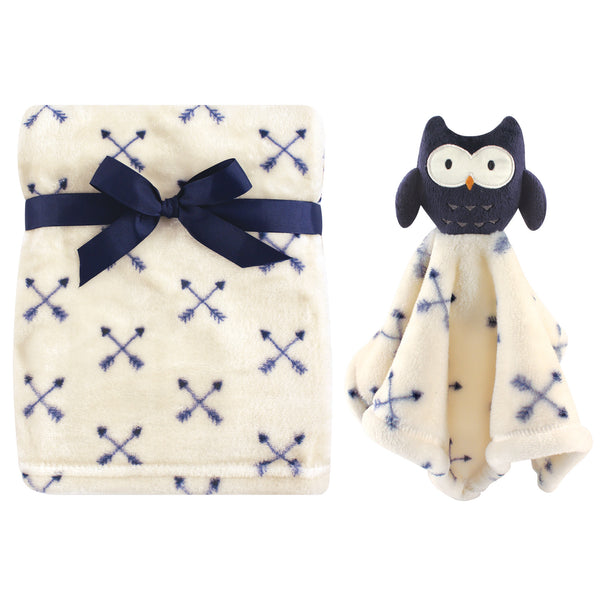 Hudson Baby Plush Blanket with Security Blanket, Blue Owl