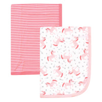 Hudson Baby Cotton Swaddle Blankets, Coral Unicorn