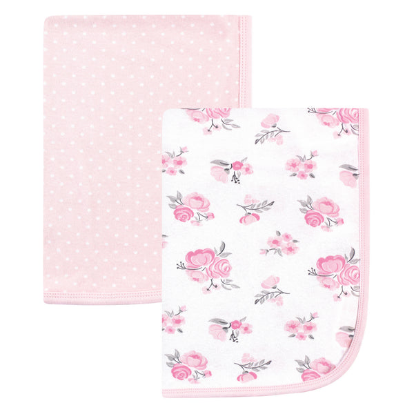 Hudson Baby Cotton Swaddle Blankets, Pink Floral