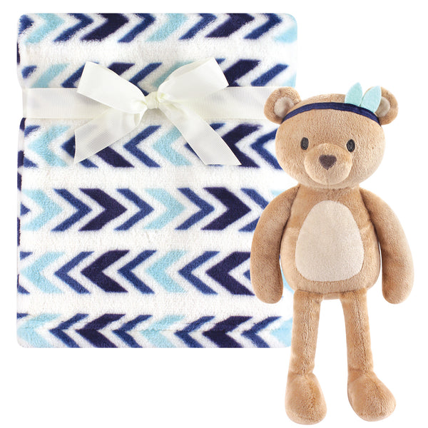Hudson Baby Plush Blanket with Toy, Aztec Bear