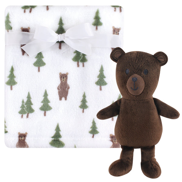 Hudson Baby Plush Blanket with Toy, Forest Bear