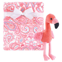 Hudson Baby Plush Blanket with Toy, Flamingo