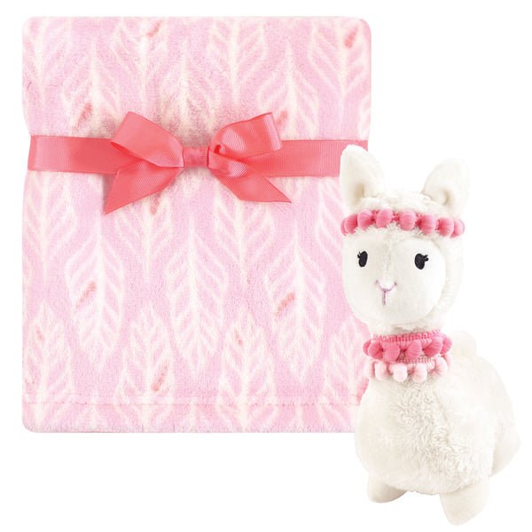 Hudson Baby Plush Blanket with Toy, Llama