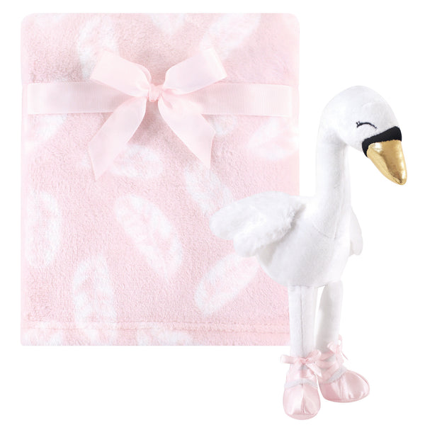 Hudson Baby Plush Blanket with Toy, Swan