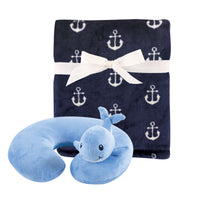 Hudson Baby Neck Pillow and Plush Blanket Set, Whale