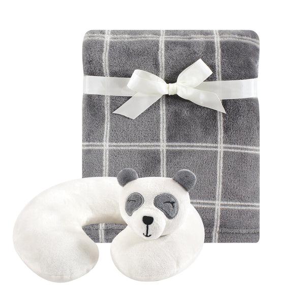 Hudson Baby Neck Pillow and Plush Blanket Set, Panda