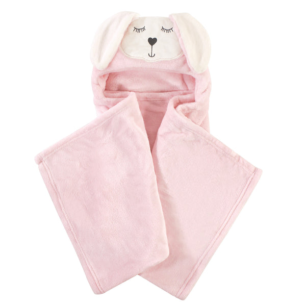 Hudson Baby Hooded Animal Face Plush Blanket, Modern Bunny