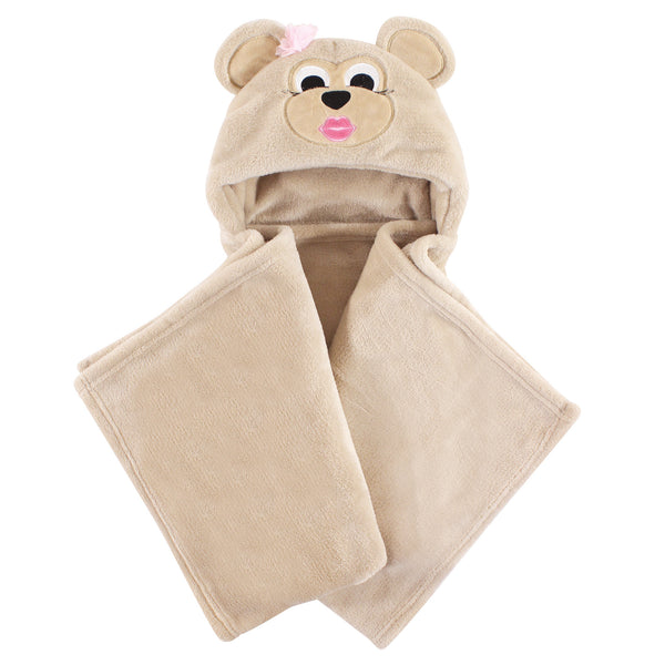 Hudson Baby Hooded Animal Face Plush Blanket, Miss Monkey