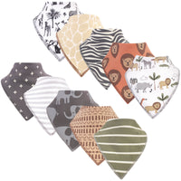 Hudson Baby Cotton Fleece Bandana Bibs, Safari