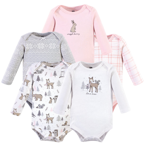 Hudson Baby Cotton Long-Sleeve Bodysuits, Winter Forest 5-Pack