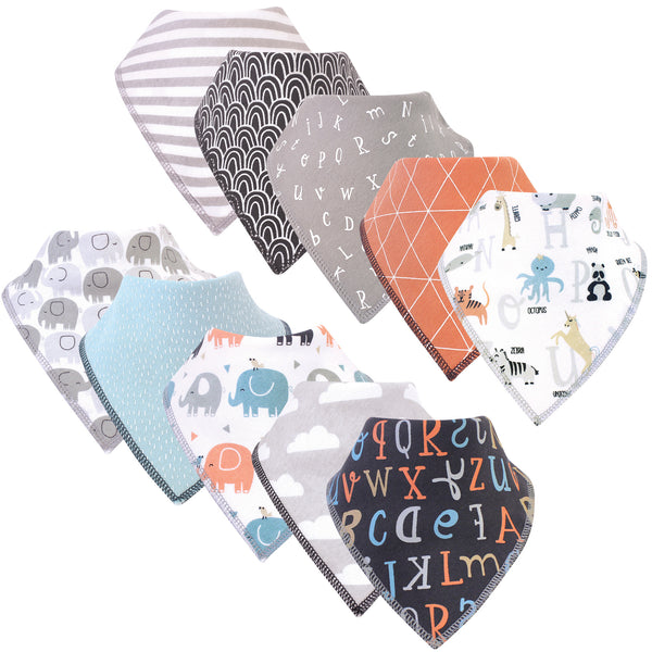 Hudson Baby Cotton Fleece Bandana Bibs, Alphabet