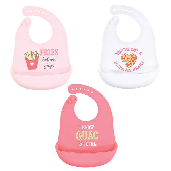 Hudson Baby Silicone Bibs, Fries Before Guys