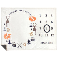 Hudson Baby Plush Holiday and Milestone Blanket, Boy Adventure Awaits