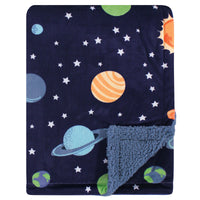 Hudson Baby Plush Blanket with Sherpa Back, Solar System