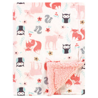 Hudson Baby Plush Blanket with Sherpa Back, Girl Pink Forest