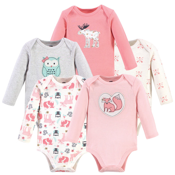 Hudson Baby Cotton Long-Sleeve Bodysuits, Pink Forest