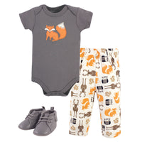 Hudson Baby Cotton Bodysuit, Pant and Shoe Set, Boy Forest