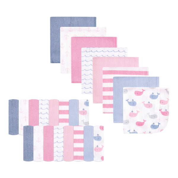 Hudson Baby Rayon from Bamboo Washcloth Bundle, Pink Whale