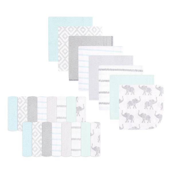 Hudson Baby Rayon from Bamboo Washcloth Bundle, Gray Mint Elephant