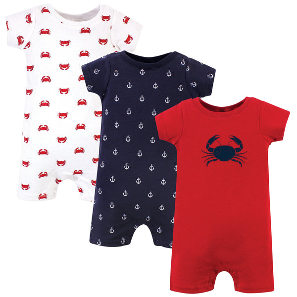Hudson Baby Cotton Rompers, Crab