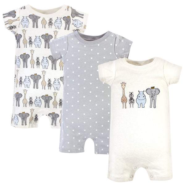 Hudson Baby Cotton Rompers, Royal Safari