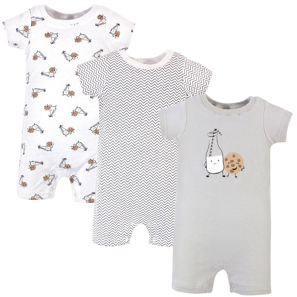 Hudson Baby Cotton Rompers, Milk Cookies