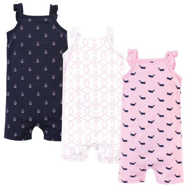 Hudson Baby Cotton Rompers, Pink Whale