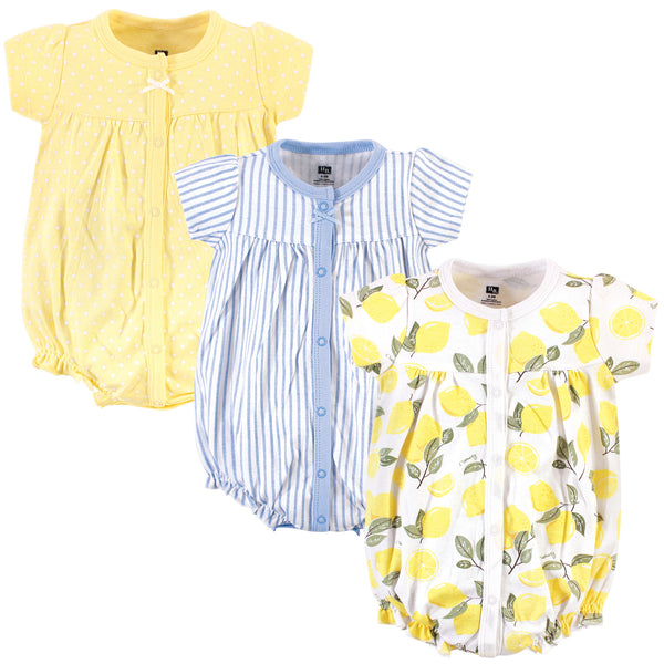 Hudson Baby Cotton Rompers, Lemon