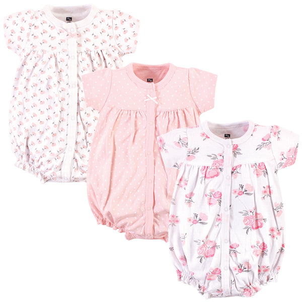 Hudson Baby Cotton Rompers, Pink Floral
