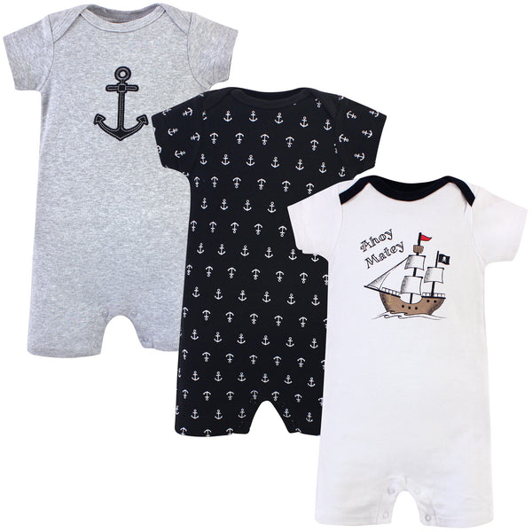 Hudson Baby Cotton Rompers, Pirate Ship