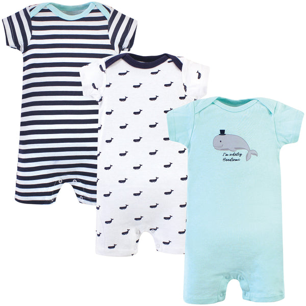 Hudson Baby Cotton Rompers, Teal Whale