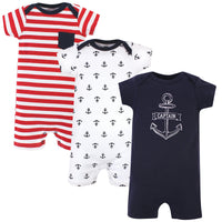 Hudson Baby Cotton Rompers, Captain