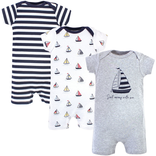 Hudson Baby Cotton Rompers, Sailboat