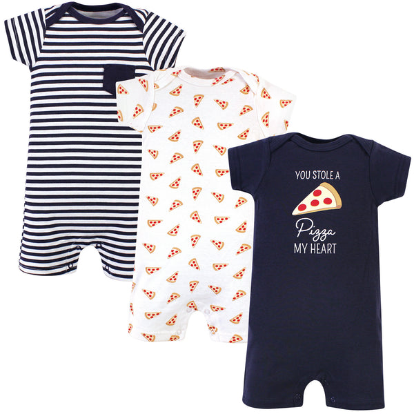 Hudson Baby Cotton Rompers, Pizza
