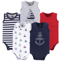 Hudson Baby Cotton Sleeveless Bodysuits, Captain