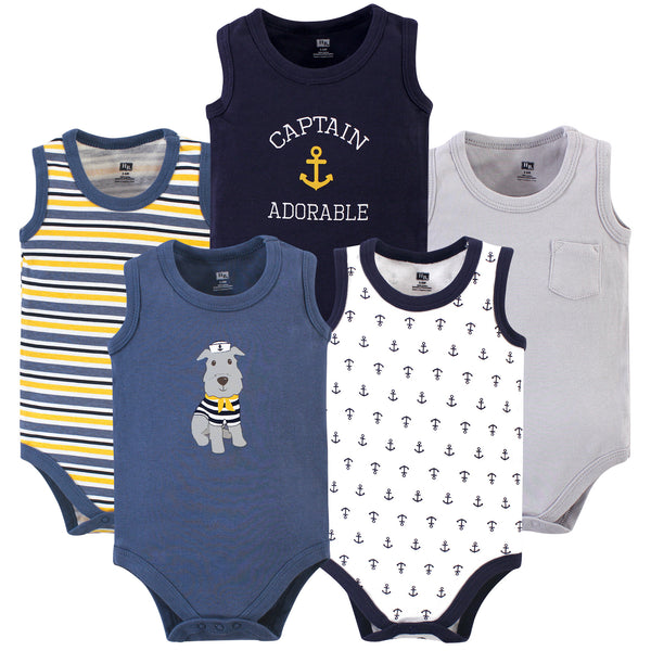 Hudson Baby Cotton Sleeveless Bodysuits, Sailor Dog