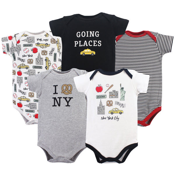 Hudson Baby Cotton Bodysuits, New York