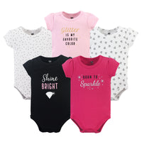 Hudson Baby Cotton Bodysuits, Sparkle